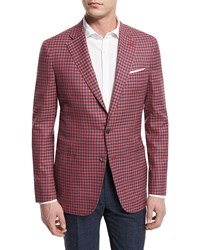 Isaia Check Two Button Sport Coat Red Blue