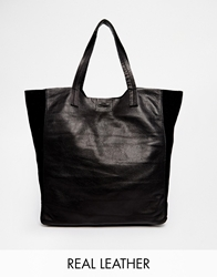 Pieces Leather Shopper Bag Black