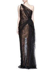 Lanvin Gathered Chantilly Lace One Shoulder Bustier Gown Black