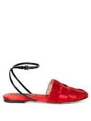 Marco De Vincenzo Woven Satin Flat Sandals Red
