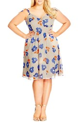Plus Size Women's City Chic 'Retro Ruffle' Floral Print Chiffon Fit And Flare Dress