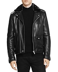 The Kooples Perfecto Jacket With Faux Fur Collar Black