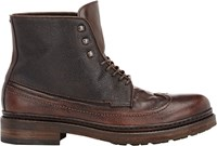 Pantanetti Men's Grained Leather Wingtip Boots Brown