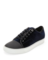 Lanvin Velvet Captoe Low Top Shoe Blue