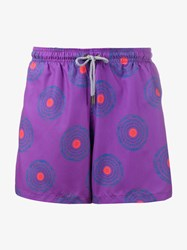 Okun Ali Circle Print Swim Shorts Purple Multi Coloured Pink