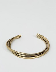 Asos Twisted Bangle In Burnished Gold Gold