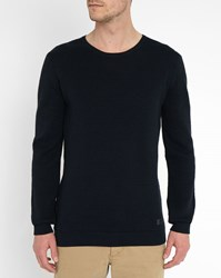 Minimum Navy Hawker Honeycomb Round Neck Sweater Blue