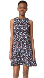 Tanya Taylor Leaf Floral Crepe Adalia Dress Black Multi
