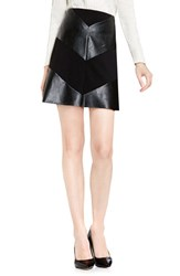 Vince Camuto Women's Faux Leather And Ponte Miniskirt