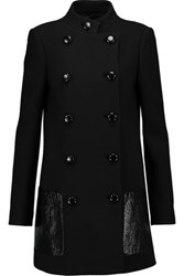 Michael Kors Collection Leather Trimmed Wool Coat Black