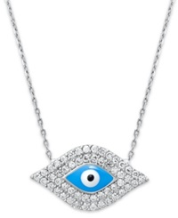 Studio Silver Sterling Silver Necklace Blue Enamel And Crystal Evil Eye Pendant