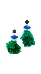 Tory Burch Tropical Creature Drop Earrings Green Vintage Gold