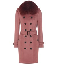 Burberry Sandringham Fur Trimmed Trench Coat Pink