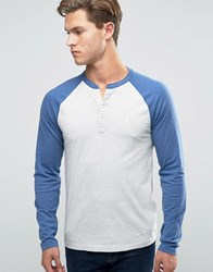 Abercrombie And Fitch Henley Long Sleeve Baseball Top Wwith Contrast Sleeves In Navy Grey Navy