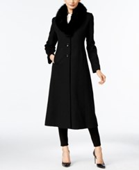 Forecaster Fox Fur Trim Wool Blend Maxi Coat Only At Macy's Black