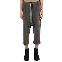 Rick Owens Men's Velvet Drop Rise Crop Pants Dark Grey Grey Dark Grey Grey