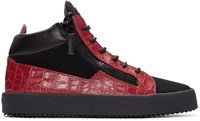 Giuseppe Zanotti Black And Red London High Top Sneakers
