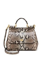 Dolce And Gabbana Sicily Python Top Handle Satchel Beige Multi
