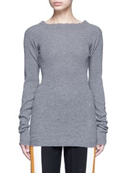 Stella Mccartney Off Shoulder Rib Knit Wool Sweater Grey
