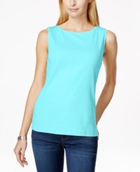 Karen Scott Sleeveless Boat Neck Tank Top Only At Macy's Aqua Oasis