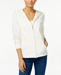 Karen Scott Quilted Hoodie Only At Macy's Eggshell