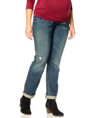Motherhood Maternity Plus Size Cuffed Distressed Jeans Dusted Medium Wash