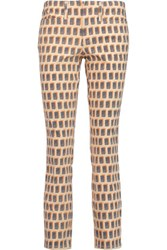 Tory Burch Landry Cropped Printed Mid Rise Skinny Jeans Peach