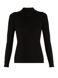 Courreges Ribbed Knit Wool Sweater Black