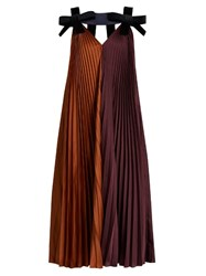 Roksanda Ilincic Fahadi Pleated Crepe Dress Burgundy Multi