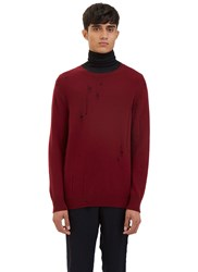 Yang Li Broken Crew Neck Sweater Red