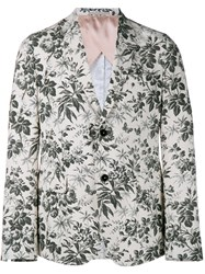 Gucci Tailored Floral Print Blazer Cream Grey