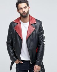Asos Belted Leather Biker In Black With Red Lapel Detail Black