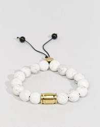 Love Bullets Lovebullets Snowflake Tube Beaded Bracelet In Semi Precious Stone White