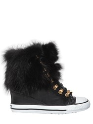 Black Dioniso 80Mm Fox Fur And Leather Wedge Sneakers