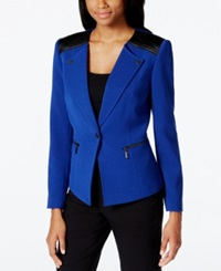 Tahari Asl Faux Leather Trim Zip Jacket Royal Blue