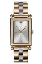Ted Baker 'Bliss' Rectangle Case Bracelet Watch 34Mm Gold Silver