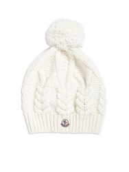 Moncler Cable Knit Pom Pom Hat Natural