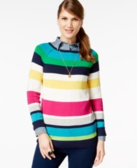 American Living Striped Long Sleeve Sweater Only At Macy's Capri Navy Multi