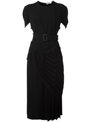 Jil Sander Belted Pleated Midi Dress Black