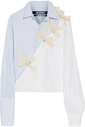 Jacquemus Bow Embellished Cotton Oxford And Poplin Shirt Sky Blue