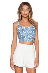 J.O.A. Cut Out Bustier Top Blue