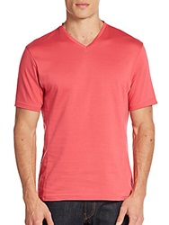 Vince Camuto Tonal Striped Cotton V Neck Tee Claret Red
