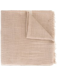 Woolrich Stripe Detail Scarf Nude And Neutrals