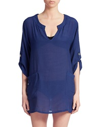 J Valdi Roll Sleeve Split Neck Cover Up Tunic Navy