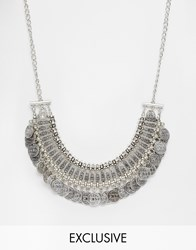 Reclaimed Vintage Coin Statement Necklace Silver