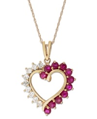 Macy's 14K Rose Gold Ruby 9 10 Ct. T.W. And White Sapphire 3 8 Ct. T.W Pendant Necklace