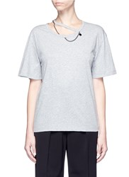 Stella Mccartney 'Falabella' Chain Cutout Neck T Shirt Grey
