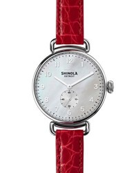 Shinola The Canfield 38Mm Watch W Alligator Strap Red