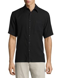Neiman Marcus Short Sleeve Waffle Knit Silk Shirt Black