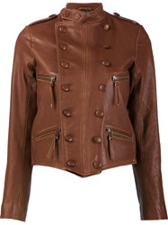 Faith Connexion Double Breasted Leather Jacket Brown